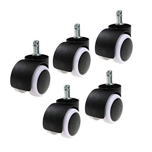 LEBENSWERT - Set di 5 rotelle per Sedia da Ufficio, 10 mm x 22 mm, per parquet, Laminato, Molto...