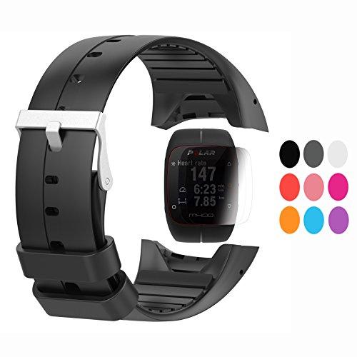 TUSITA Strap + Screen Protector Per Polar M400 / M430, Sostituzione in Silicone Strap Bracciale WristBand Accessorio per Orologio Polar GPS (NERO)