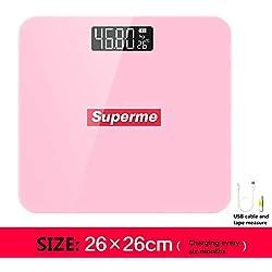 LEEEC Bilance da Bagno per pesatura del Corpo Alta durezza Alta precisione di Misura Display LCD retroilluminato Bilancia Elettronica (Spedizione Gratuita),Pink