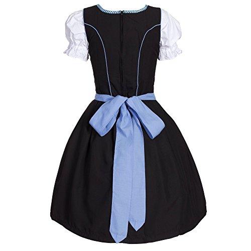 Dirndl 3 tlg.Trachtenkleid Kleid, Bluse, Schürze, Gr. 40 schwarz blau -