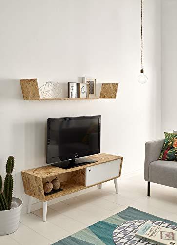 HOGAR24 ES Mobile TV con ripiano Superiore in Legno Riciclato, Stile retrò Vintage. Dimensioni: 120...