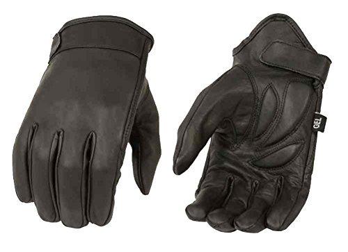 Milwaukee Leather - Guanti da uomo, in pelle Cruiser d'alta qualità, corti, neri, MG7510 Black XXXL