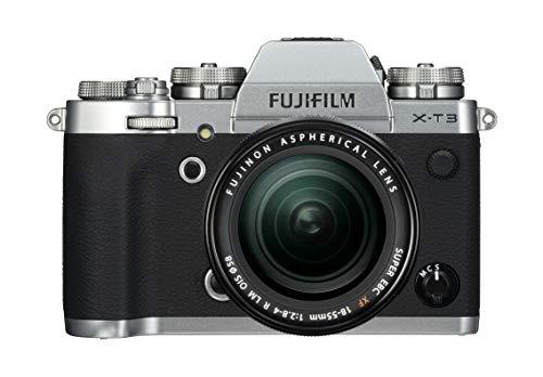 Fujifilm X-T3 Fotocamera Mirrorless da 26 MP + XF18-55mm F2.8-4 R LM OIS, Sensore X-Trans CMOS 4 APS-C, Filmati 4K 60p 10bit, Mirino EVF 3.69 MP, Schermo LCD 3' Touch Orientabile, Argento