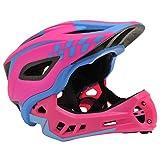 KIDDIMOTO Children's IKON Full Face Cycle Helmet, Pink/Blue, Small (48-53cm)