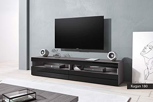 Mobiletto porta tv Kugan 180 cm 180x36.5x39.5 (grigio opaco/nero lucido)