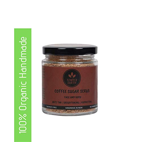 SIMPLY EARTH 100% Organic Handmade Multi-Purpose Face & Body Coffee Sugar Scrub | Tan Removal | Skin Brightening | Paraben & Sulphate Free | Eco-Friendly Packaging(100Gm)