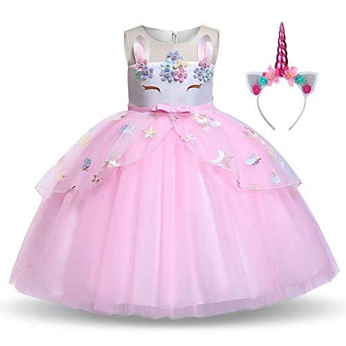 Costume da unicorno da bambina, con cerchietto per capelli, età 3-10 anni, per feste in costume e Halloween rosa 130 cm