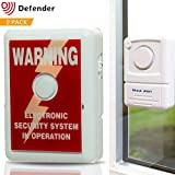 Defender Window Alert Vibration Alarm - Smashed Glass Alarm - Window Alarm - Vibration Shock Glass Siren - Theft Deterrent Alarm Warning Chime With Sticker - 110dBs - Detect Forced Entry - 2 Pack