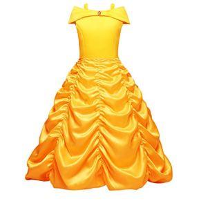 FYMNSI Disfraz de Princesa Belle Niñas Carnaval Cosplay de La Bella y la Bestia Fuera del Hombro Vestido Largo Amarillo…