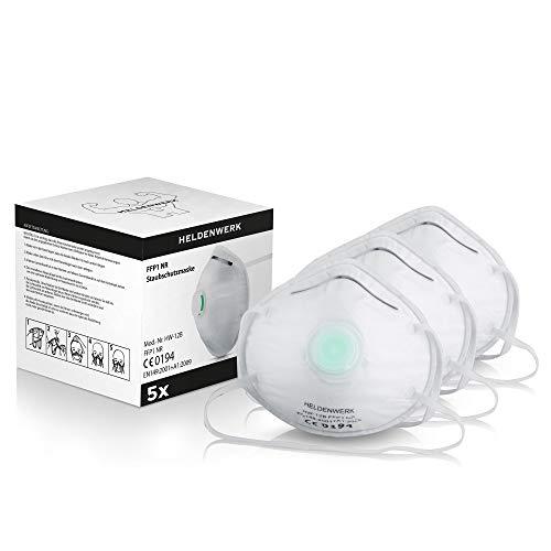 Heldenwerk® Atemschutzmaske im 5er, 10er oder 20er Set - Premium Atemmaske - Perfekt anpassbare FFP1 Mundschutz Maske - Feinstaubmaske, Staubschutzmaske für Schleifen etc
