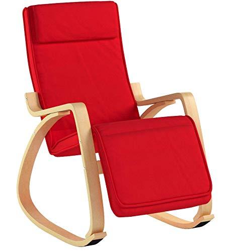 SoBuy Poltrona dondolo, poltrona oscillante, poltrona riposo, sedia relax, poltrona dondolo, FST16-R (Rosso)