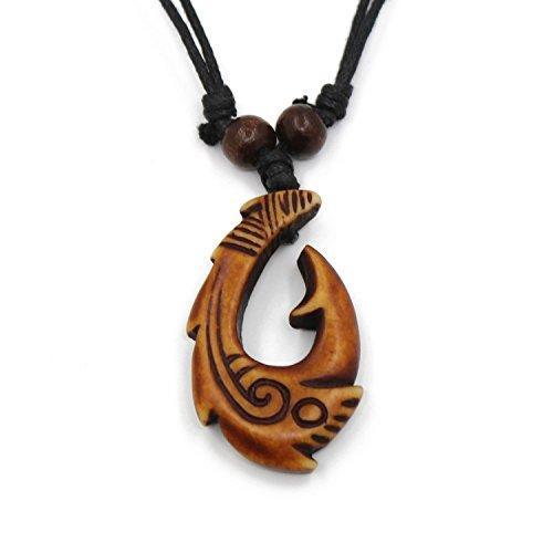 Collana in corda di canapa con ciondolo in stile Maori/hawaiano, a forma di amo da pesca, unisex