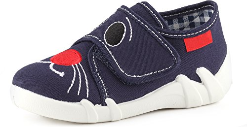 Ladeheid Pantofole Scarpine Bambino e Bambina LARB005 (Blu Navy/Gatto, 23 EU)