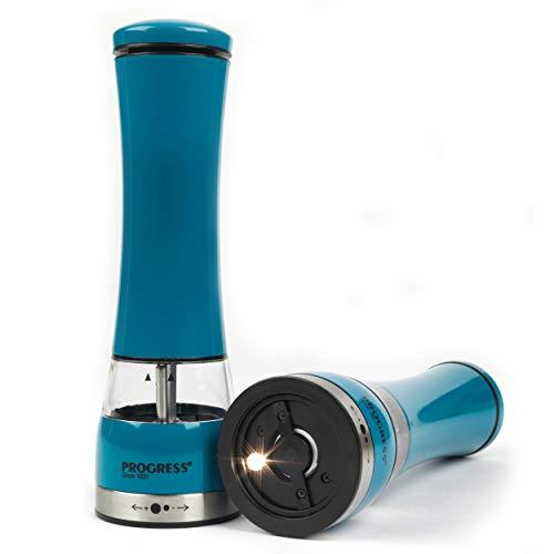 Progress BW05375BL Set aus Zwei elektrischen Salz- und Pfeffermühlen mit Beleuchtung, blau