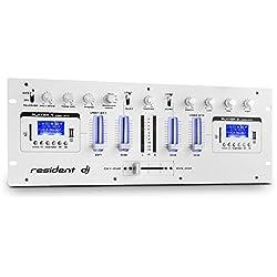 resident dj DJ405USB • 4-Kanal-Mixer • DJ-Mischpult • DJ-Mixer • 2 x Bluetooth • 2 x USB • 2 x SD • AUX • Aufnahmefunktion • Mikrofonsektion • XLR-Eingang • 6,3 mm-Klinken-Eingang • Lautstärkeregler • 2-Band-Equalizer • Metallgehäuse • weiß