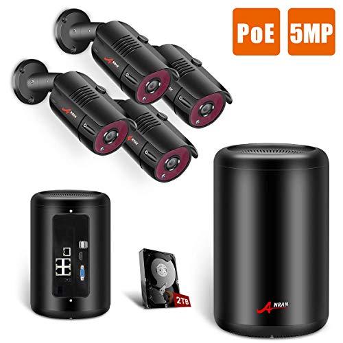 Kit Videosorveglianza 5MP 1920P, ANRAN 4 PoE Telecamere da 5 Megapixel Esterne con HDD 2TB, 24/7 registrazione, Visione Notturna, Impermeabili