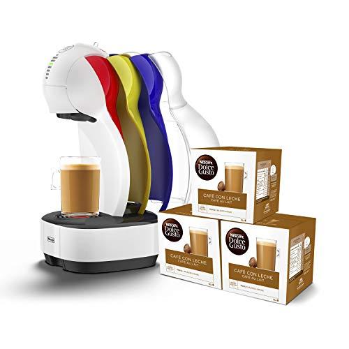 Pack De'Longhi Dolce Gusto Colors EDG355.W1 - Cafetera de cápsulas, 15 bares de presión, color blanco + 3 packs de café Dolce Gusto Café Con Leche