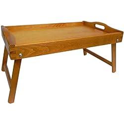 Bandeja de cama - Bandeja de madera para el desayuno. Tiene las patas plegadas. - marrón claro