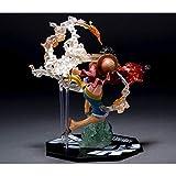 Kentop - Statue Statuette Sculpture Figurine de Collection en Résine- Monkey D Luffy du Manga One Piece - Bataille de Luffy avec Poing de Feu