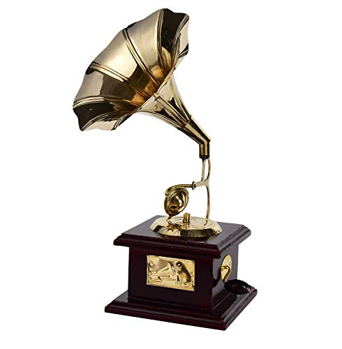 Indian Handmade Wooden Brass Vintage Style Gramophone Showpiece Antique Gift for Home Decor