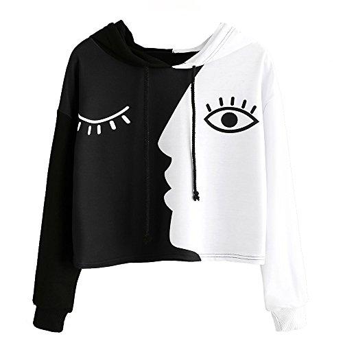 Damen Auge Gedruckt Sweatshirt Langarm Weiß Kurz Tops Bluse-Frauen...