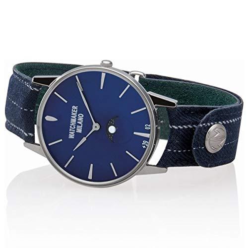 Orologio uomo stile vintage Watchmaker Milano WMAFL02 fasi lunari cinturino sartoriale