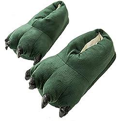 Zapatillas De Algodón De Dibujos Animados/Zapatos De Garra De Dinosaurio De Franela/Cómodas Zapatillas De Casa Calientes,Green,EU36.5/UK3.5