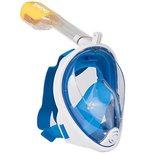 Emsmil Maschera da Snorkel Snorkeling Subacquea Immersioni Nuoto 180 ° Vista Panoramici Easybreath Full Face maschere subacquee Anti-Fog Anti-perdita per Adulti e Bambini gopro Blu S/M