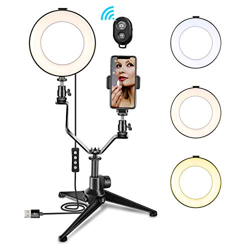"Luce ad Anello Dimmerabile, MACTREM Ring Light 6"" con Treppiede E Supporto per Telefono Cellulare..."