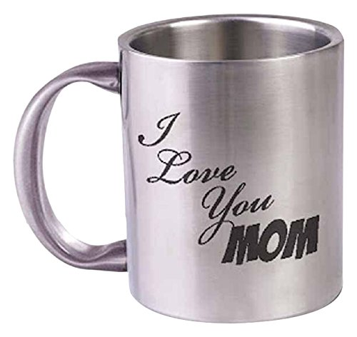 "Hot Muggs""I Love You Mom"" Stainless Steel Mug, 350ml, Silver"