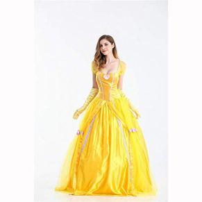 hhalibaba Disfraces de la Bella y la Bestia Mujeres Adultos Vestidos de Belle de Halloween Fiesta Fantasía Amarillo Vestido Largo de Princesa Mujer Cosplay