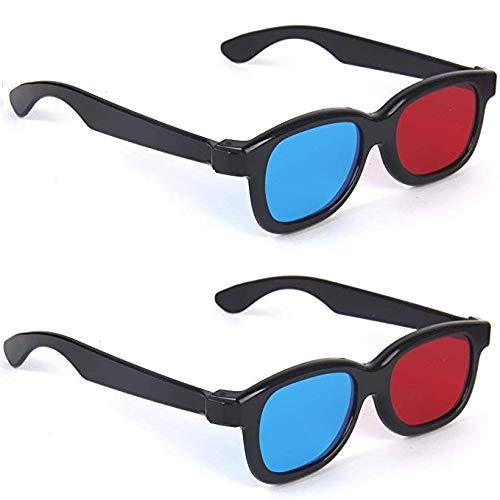 Jutek Double Pair Adult Plastics Red/Blue 3D Glasses ,Black for Home TV & Movie Theater (Pack of 2)