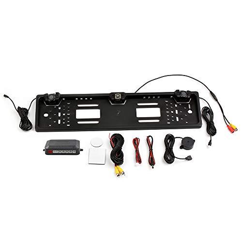 KKmoon Telecamera di Backup con Telaio per Targa Europea, Telecamera per Retromarcia a 12 LED con Sensore di Parcheggio con Sistema Radar di Retromarcia