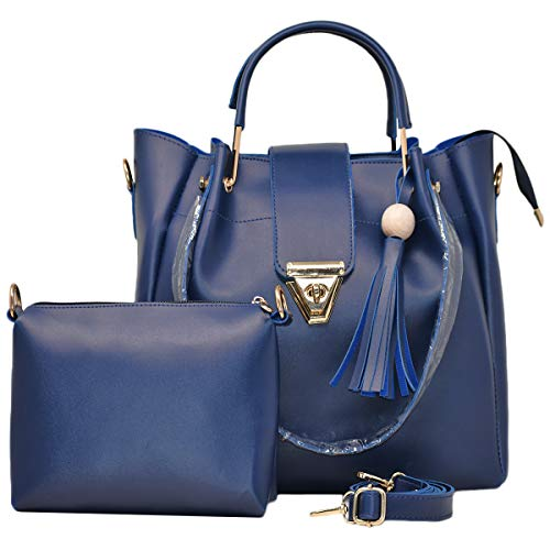 Typify Women's Leather Sling Bag and Handbag (Navy Blue) -Combo Pack of 2