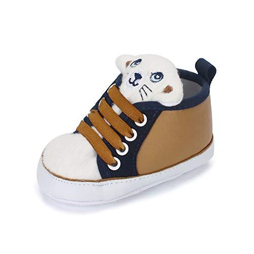 LACOFIA Sneaker Bambino Scarpe Primi Passi con Suola Morbida Antiscivolo per Neonato Marrone 12-18 Mesi