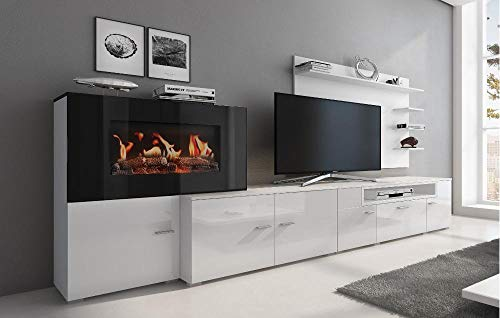 Home Innovation - Living room furniture with electric fireplace with 5 levels of flame, Matte White and Lacquered Bright White finish, measures: 290 x 170 x 45 cm deep
