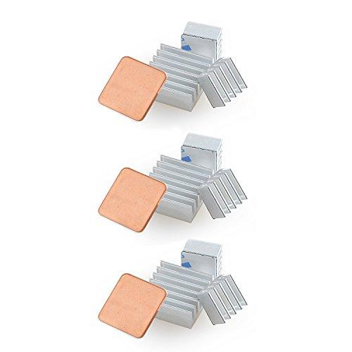 Aukru 3set Dissipatore di Calore Cooler per Raspberry Pi 3 Model B + Plus/Pi 2 Modello B/Pi B+, Alluminio