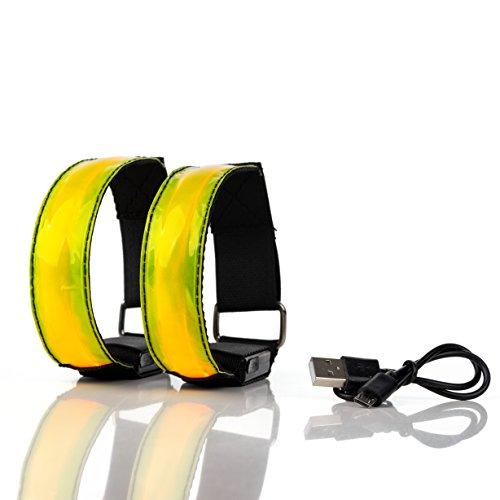 BRACCIALETTO LED RICARICABILE USB Catarifrangente – Luci Segnalazione Alta Visibilità per Corsa,...