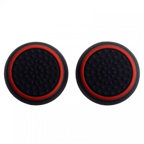 TCOS TECH Silicone Key Protector Thumb Grips Anti-Slip Silicone Cap Cover for PS4 PS3 Xbox One Xbox 360 Controller - Black + Red (2 Pcs)