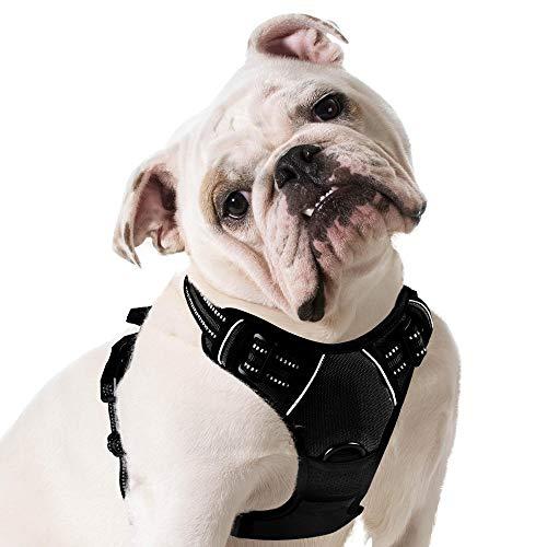Eagloo Arnes de Perro Antitirones Cómodo Chaleco Ajustable Correa al Cuello y Pecho para Perros Mediano Material Duradero Transpirable con Cinta Reflectante Adaptarse a Ejercer Externo M/Negro