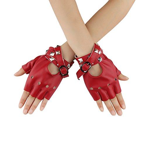 Cusfull Sexy Punk Guanti da donna stile Goth, mezze dita, con lacci, adatti per rivetti (rosso)