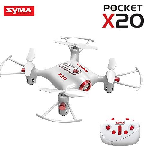 Jack Royal Syma X20 Pocket Drone 2.4G 4CH 6Aixs Altitude Hold Mode One Key Tak-Off/Landing RC Quadcopter RTF (White)