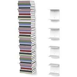 Unsichtbares Bücherregal mit 8 Fächern in Farbe weiß bis zu 200 cm hohen Bücherstapel für Bücher bis zu 22 cm Tiefe