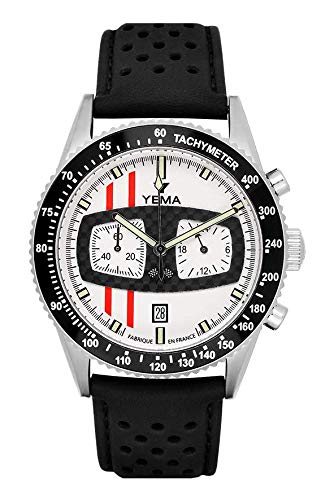 Yema RALLYGRAF Glace II - Orologio da uomo, movimento Miyota OS21, cofanetto secondo cinturino in gomma, YMHF1477C