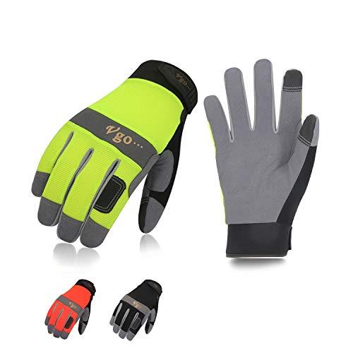 Vgo Glove Guanti, 3 paia, guanti da lavoro uomo in pelle, guanti da meccanico, giardino, edile,...