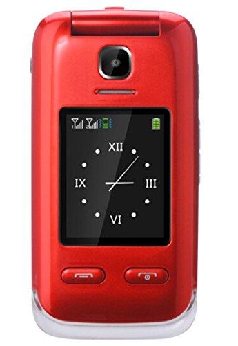 Eg520Senior débloqué GSM téléphone Portable, Bouton SOS, Compatible avec Une Aide auditive Rouge 23