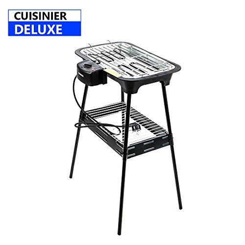 Cuisinier Deluxe BBQ Elettrico con Piedi di Supporto e termostato Regolabile Potenza di 2000W...
