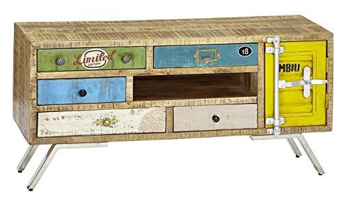 MOBILI IN LEGNO MASSELLO MANGO FERRO in legno massello mobile tv stile industriale legno massello...