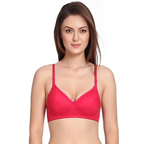 Zunahme Light Padded Non Wired Cotton T-Shirt Bra for Girls Women's Combo (Pack of 3) (34, Red::Black::Cream) 5