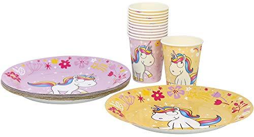 com-four® 28 Pezzi Unicorn Unicorn Unicorn Unicorn con 12 Motivi per 12 Persone, Piatti di Carta e Bicchieri di Carta per Bambini, Compleanni e Altre Feste (28 Pezzi Giallo/Rosa)